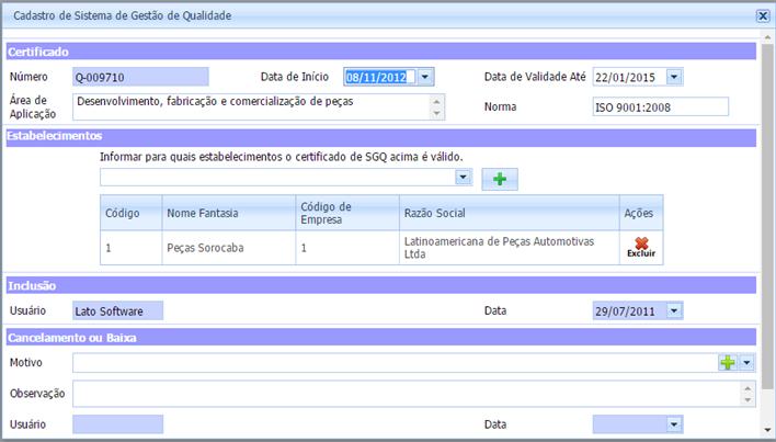 Controle diferentes SGQ no sistema de Descrição de Cargo.